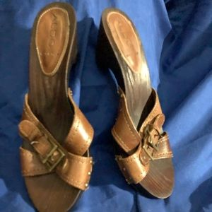 Pretty slip on sandals with a heel